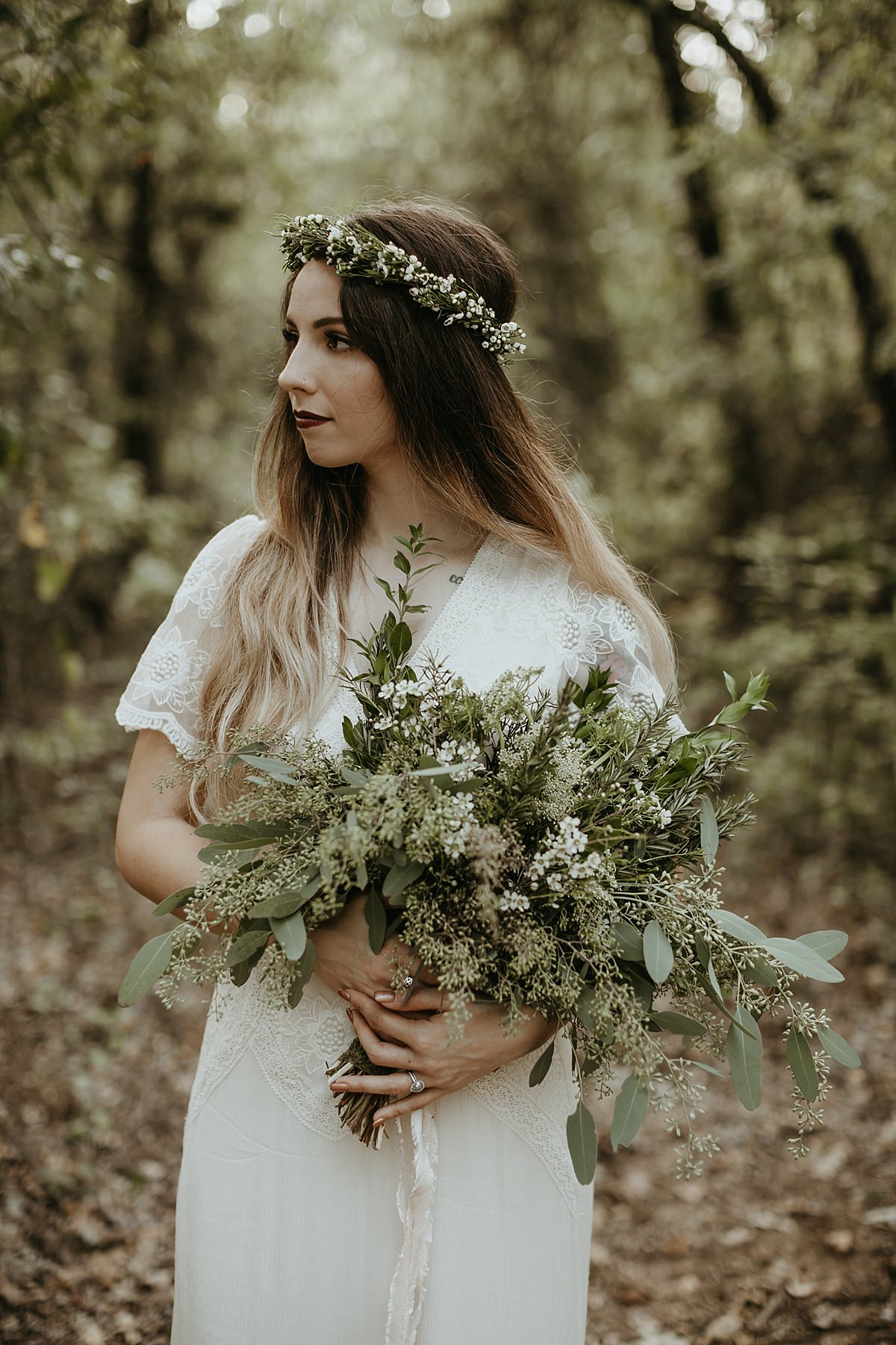 Boho bride woodland wedding